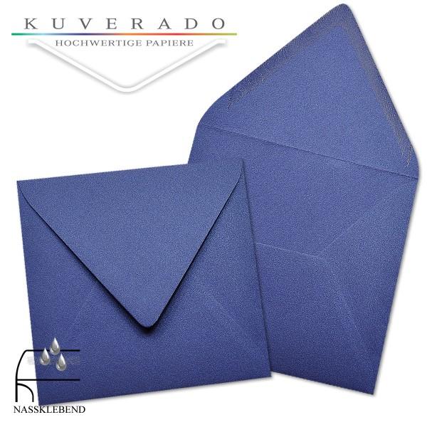 glänzende metallic Briefumschläge in blau im quadratischen Format 160 x 160 mm