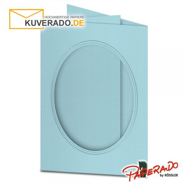 Paperado Passepartoutkarten mit ovalem Ausschnitt in aquablau DIN B6