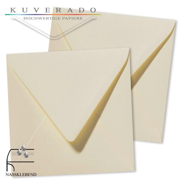 quadratische Briefumschläge in der Farbe creme beige genarbt
