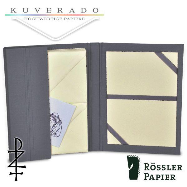 graue Briefpapiermappe mit chamois-farbigem Büttenpapier
