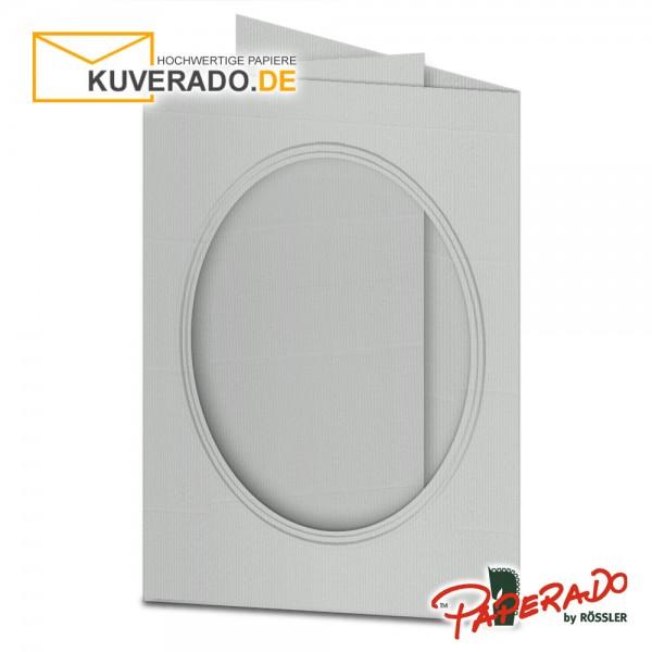Paperado Passepartoutkarten mit ovalem Ausschnitt in eisgrau DIN B6