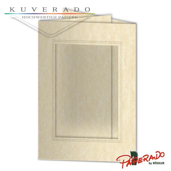 Paperado Passepartoutkarten mit eckigem Ausschnitt in vellum-beige marmoriert DIN B6