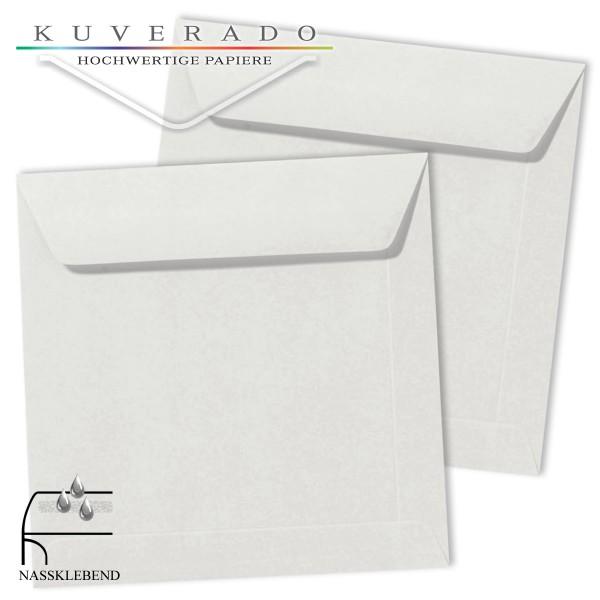 Graue Briefumschläge (Silbergrau) im Format quadratisch 190x190 mm