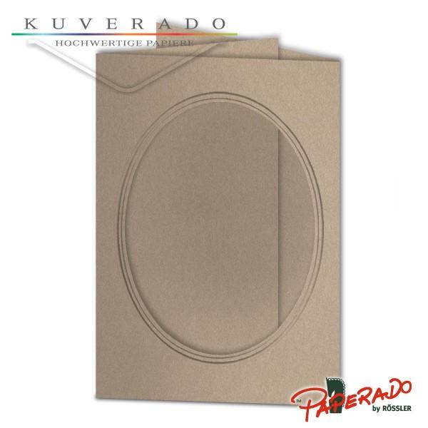 Paperado Passepartoutkarten mit ovalem Ausschnitt in metallic grau DIN B6