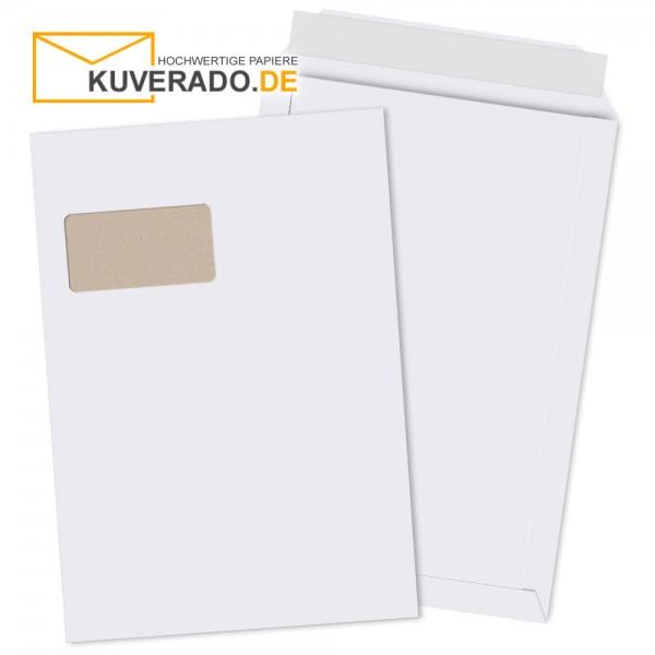 Weiße Papprückwandtaschen im Format DIN C4 haftklebend mit Adressfenster