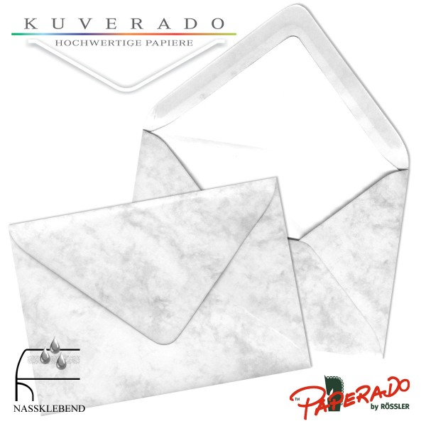 Paperado marmorierte Briefumschläge in grau DIN B6