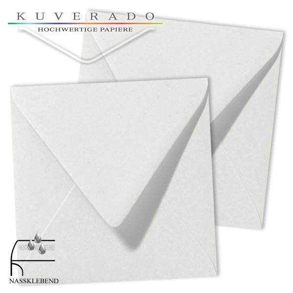 Graue Briefumschläge (silbergrau) im Format quadratisch 140x140 mm