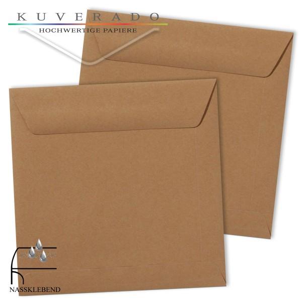 braune Briefumschläge im Format quadratisch 220x220 mm
