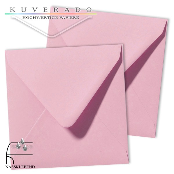 Rosa Briefumschläge (dunkelrosa) im Format quadratisch 140x140 mm