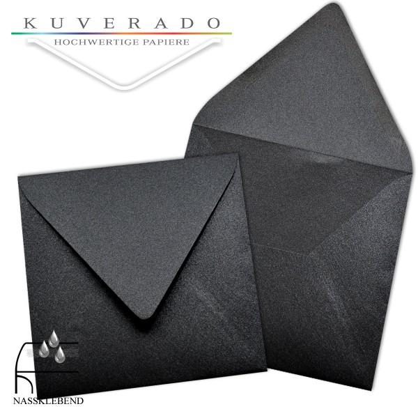 glänzende metallic Briefumschläge in schwarz im quadratischen Format 140 x 140 mm
