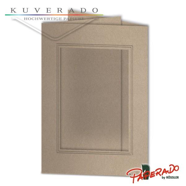 Paperado Passepartoutkarten mit eckigem Ausschnitt in metallic grau DIN B6