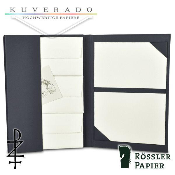 anthrazit farbige Briefpapiermappe mit natur-weißem Büttenpapier