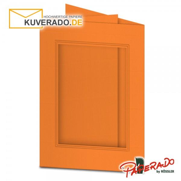 Paperado Passepartoutkarten mit eckigem Ausschnitt in orange DIN B6