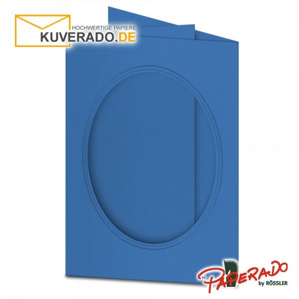 Paperado Passepartoutkarten mit ovalem Ausschnitt in stahlblau DIN B6