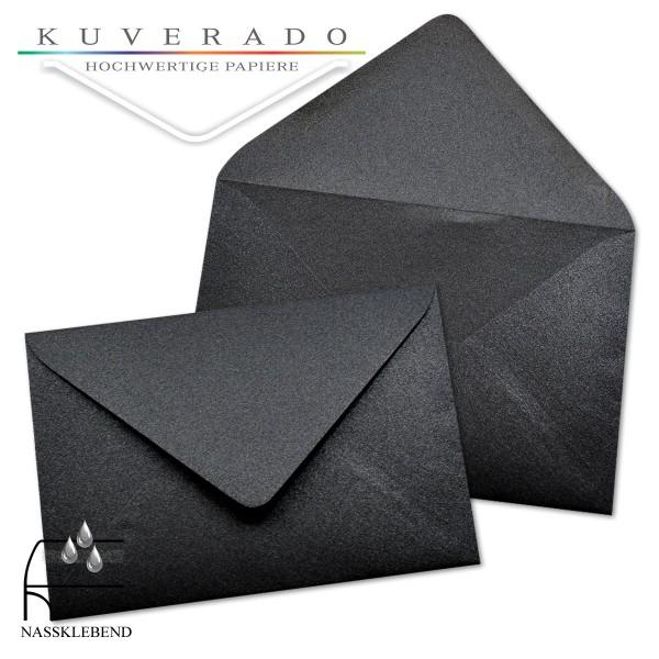 glänzende metallic Briefumschläge in schwarz im Format 120 x 180 mm