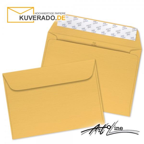 Artoz Artoline Briefumschlag in sandgold-orange DIN C6 - Linienstruktur