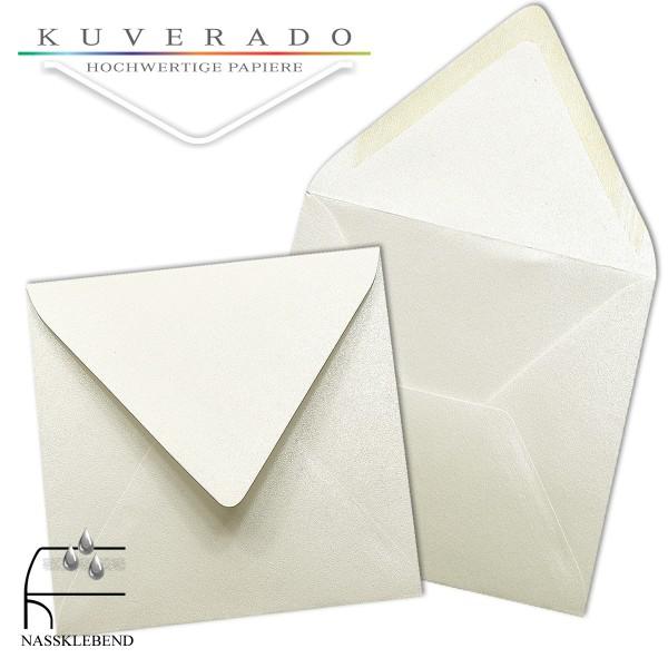 glänzende metallic Briefumschläge in weiß im quadratischen Format 140 x 140 mm