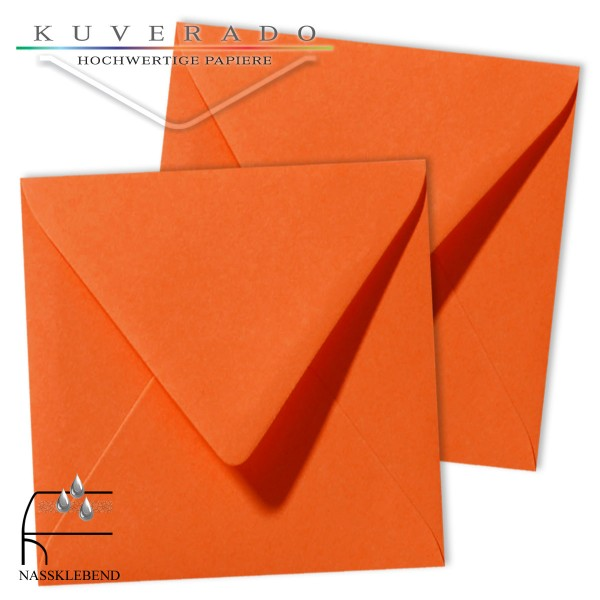 Orange quadratische Briefumschläge im Format 140x140 mm