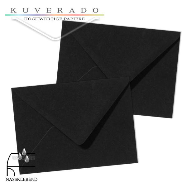 schwarze Briefumschläge im Format 130 x 180 mm