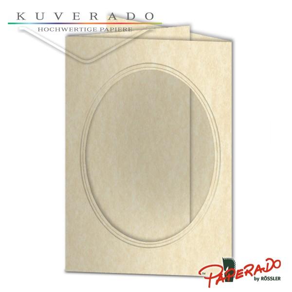 Paperado Passepartoutkarten mit ovalem Ausschnitt in vellum-beige marmoriert DIN B6