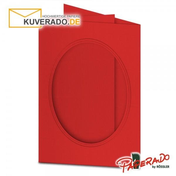 Paperado Passepartoutkarten mit ovalem Ausschnitt in tomatenrot DIN B6