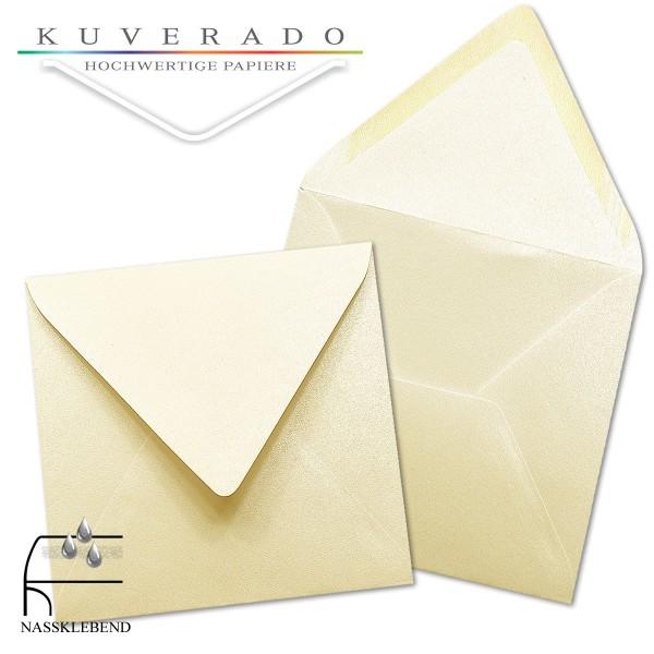 glänzende metallic Briefumschläge in beige im quadratischen Format 160 x 160 mm