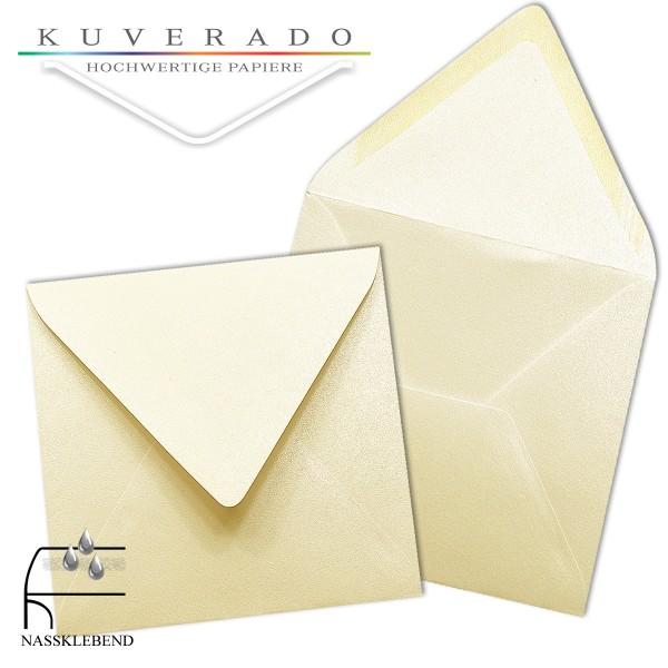 glänzende metallic Briefumschläge in beige im quadratischen Format 140 x 140 mm