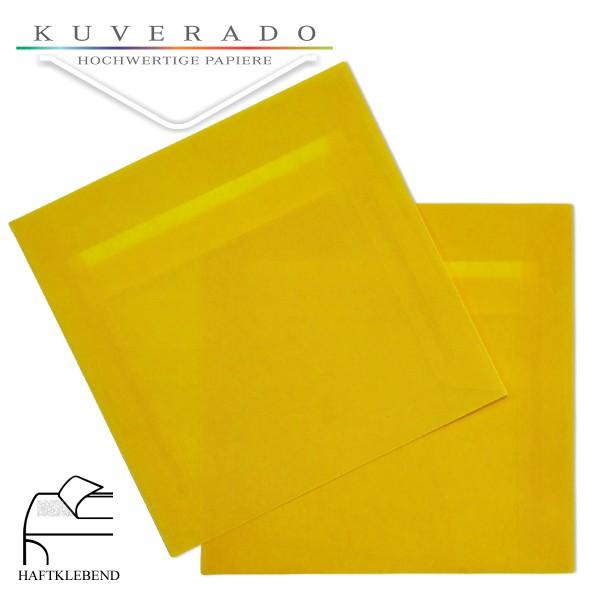 transparente Briefumschläge quadratisch in gelb