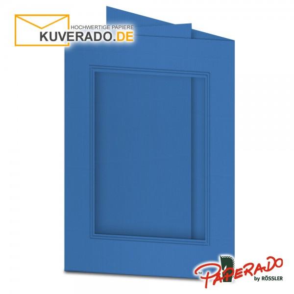 Paperado Passepartoutkarten mit eckigem Ausschnitt in stahlblau DIN B6