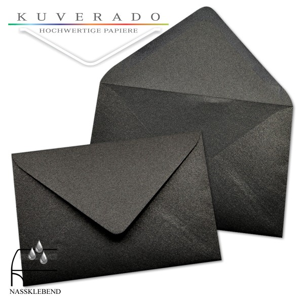 glänzende metallic Briefumschläge in ebenholzschwarz im Format 120 x 180 mm