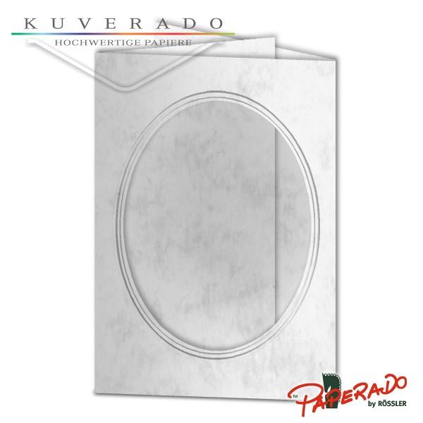 Paperado Passepartoutkarten mit ovalem Ausschnitt in grau marmoriert DIN B6
