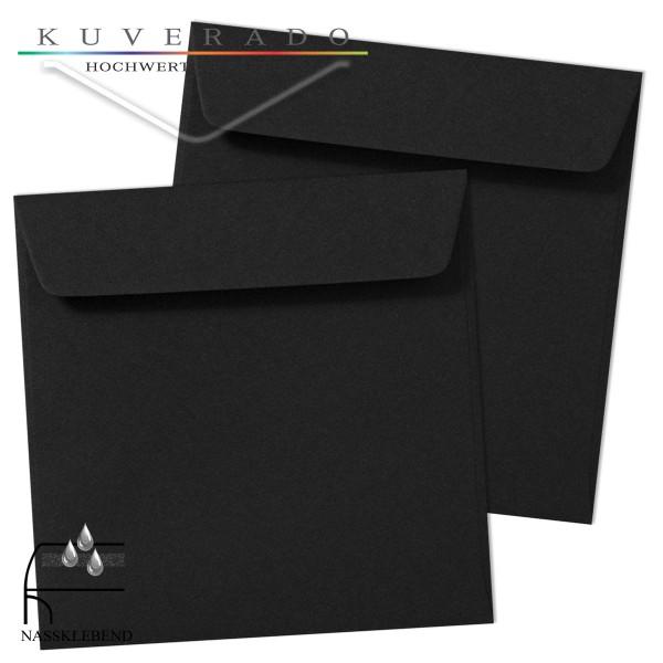 schwarze Briefumschläge im Format quadratisch 190x190 mm