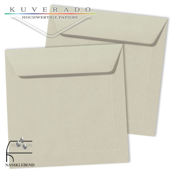 Graue Briefumschläge (delfingrau) im Format quadratisch 170x170 mm