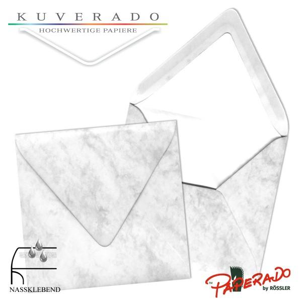 Paperado quadratische Briefumschläge in grau marmoriert 164x164 mm