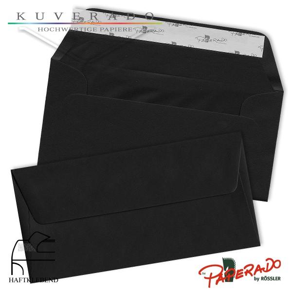 Paperado Briefumschläge schwarz DIN lang