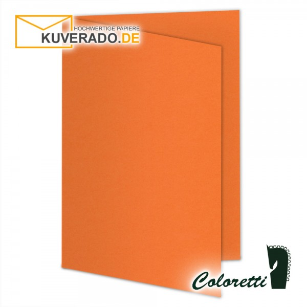 Orange Doppelkarten in apfelsine 220 g/qm von Coloretti