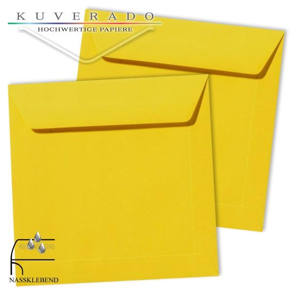 gelbe Briefumschläge im Format quadratisch 190x190 mm