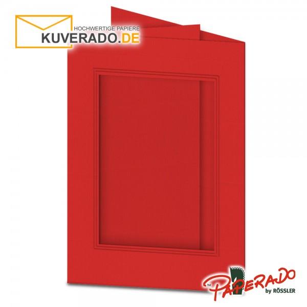 Paperado Passepartoutkarten mit eckigem Ausschnitt in tomatenrot DIN B6