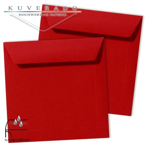 rote Briefumschläge im Format quadratisch 220x220 mm