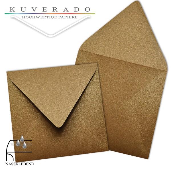 glänzende metallic Briefumschläge in bronze im quadratischen Format 140 x 140 mm