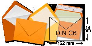 orange Briefumschläge im Format DIN C6