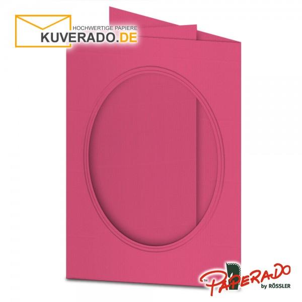 Paperado Passepartoutkarten mit ovalem Ausschnitt in fuchsia rosa DIN B6