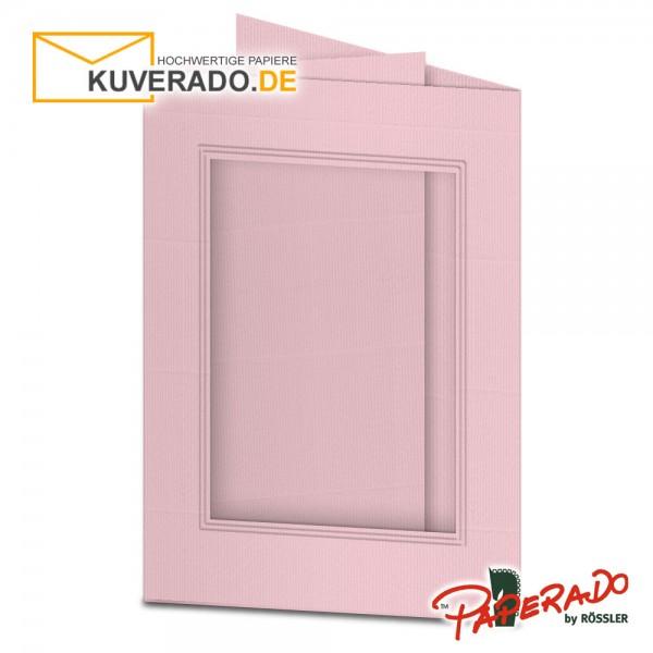 Paperado Passepartoutkarten mit eckigem Ausschnitt in flamingo-rosa DIN B6