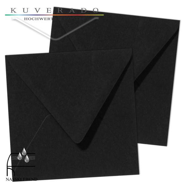 schwarze Briefumschläge im Format quadratisch 140x140 mm