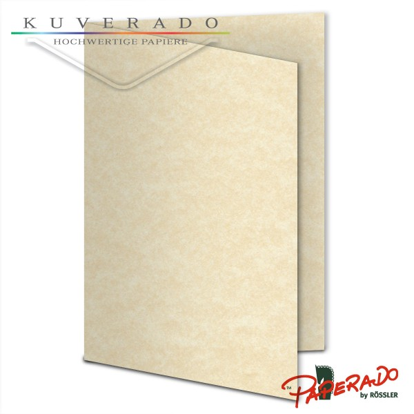 Paperado Karten in beige vellum marmoriert DIN A6