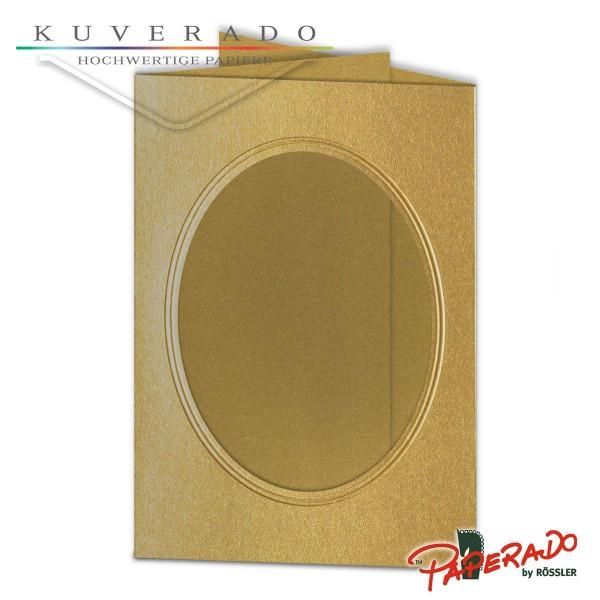 Paperado Passepartoutkarten mit ovalem Ausschnitt in gold DIN B6