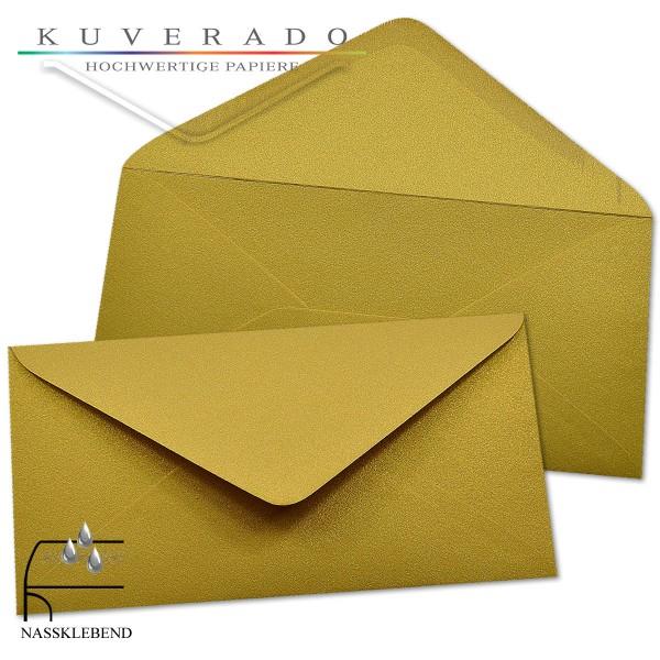 glänzende metallic Briefumschläge in gold im Format DIN lang