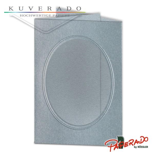 Paperado Passepartoutkarten mit ovalem Ausschnitt in silber DIN B6