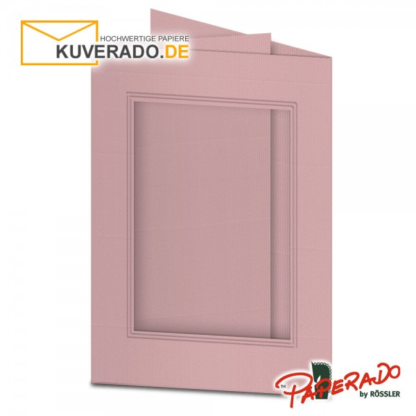 Paperado Passepartoutkarten mit eckigem Ausschnitt in rose DIN B6