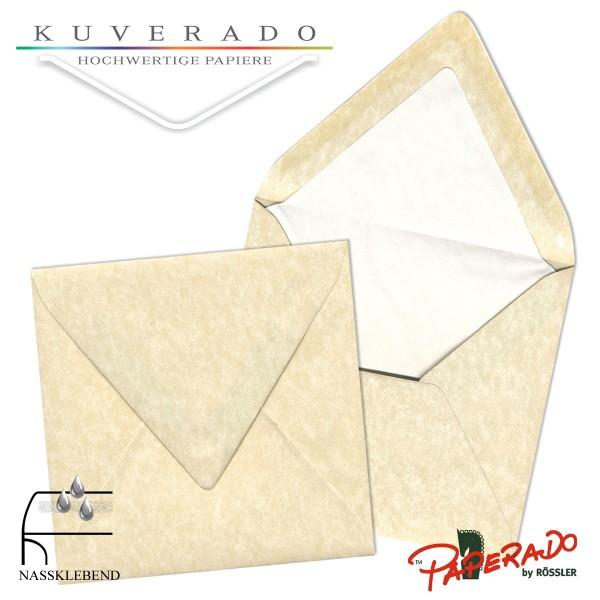 Paperado quadratische Briefumschläge in vellum beige marmoriert 164x164 mm
